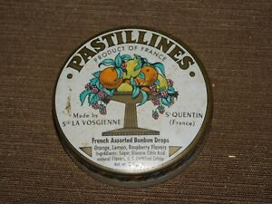 VINTAGE-PASTILLINES-FRENCH-ASSORTED-BONBON-DROPS-CANDY-TIN-CAN-EMPTY