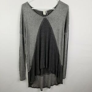 Paper-Crane-Womens-Top-Size-L-Gray-Tunic-Long-SLeeve-V-Neck-High-Low-Shirt