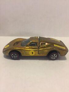 HOT WHEELS REDLINE 1968 FORD MK IV, Gold w/ Black Interior, Good Condition.