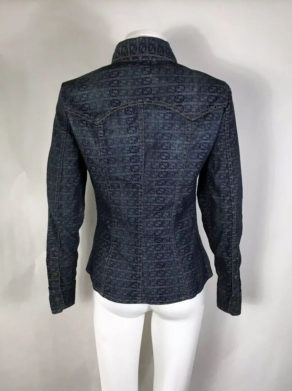 Rare Vtg Gucci Blue GG Monogram Denim Jacket S - image 4