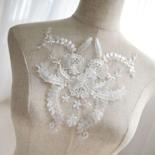 Bridal Lace Applique Embroidery Floral Motif Wedding Dress Accessories Trim 1 PC