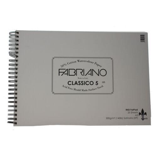 A3 Fabriano classico 5 Hot Press 300gsm 25 Sheets Watercolour fat Pad
