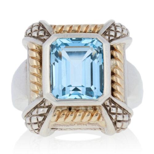 NEW Krementz 8.00ct Blue Topaz Ring Sterling Silver /& 18k Gold