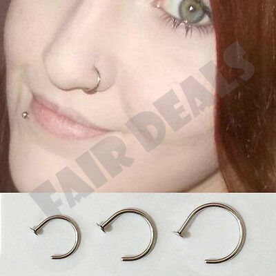 1mm Thick Polished End Steel Silver 8mm 10mm Nose Hoop Ring Stud