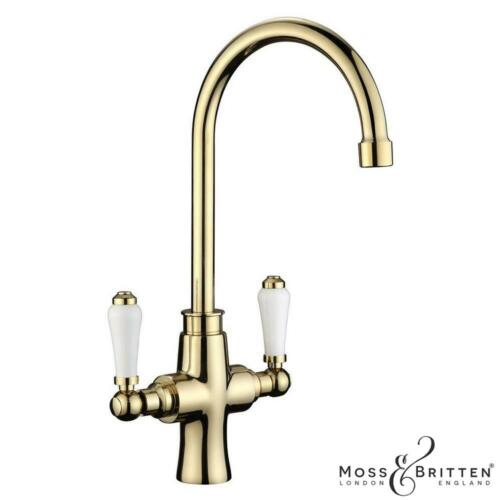 Moss /& Britten Kitchen Sink Mixer Tap 1.5 Bowl Overflow Waste Kit Polished Gold