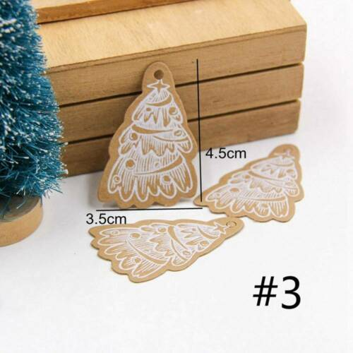 50pcs Xmas Lovely Kraft Paper Tags DIY Gift Labels with Rope Party Decor P