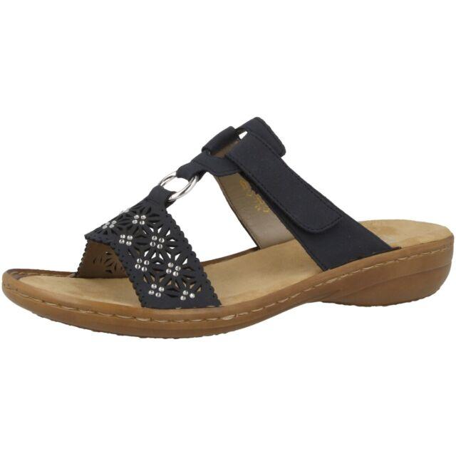 Rieker Bukina Schuhe Damen Sandale Pantoletten Freizeit Slipper blue 60871 14