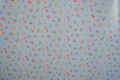Clarke and Clarke Cotton WIPE CLEAN Tablecloth Oilcloth PVC Rosebud Powder Blue