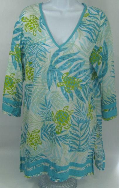 d4c3edc0a5 Peppermint Bay Women's Tunic Semi Sheer Coverup Beach Top size Small Green  Blue