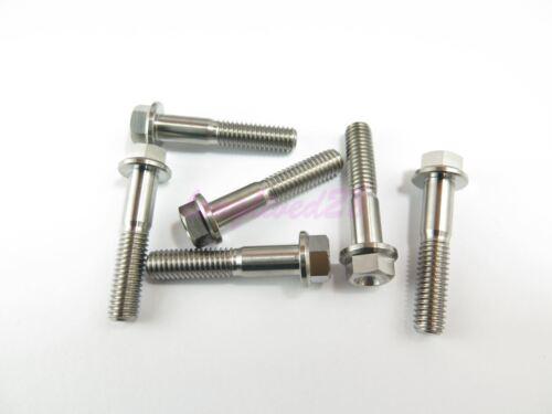 M6 x 30mm Titanium Ti Bolt Flange Head 8mm Hex Screw Fastener GR5 2//6//10pcs