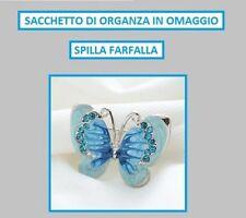 Spilla Farfalla Smalto Strass Cristallo Vintage Butterfly Pin bijoux Donna