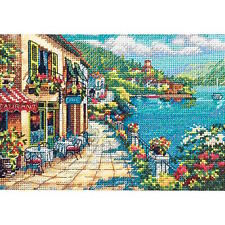 Dimensions Gold Collection Petite Overlook Cafe Counted Cross Stitch Kit 7x5 42