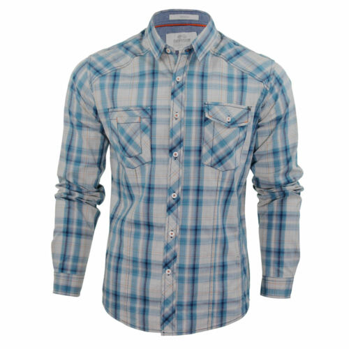 Mens Shirts Check Crosshatch /'Otley/' Long Sleeve With Chambray Detailing