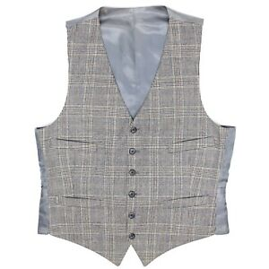 Mens-Odd-Vest-Waistcoat-40-Gray-Glen-Plaid-Button-Front-Adjustable-Waist