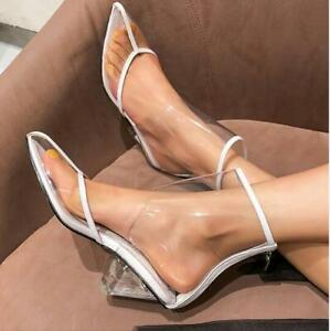 Womens-Sandals-Shoes-Boots-Clear-Platform-High-Top-Triangle-Heels-Transparent