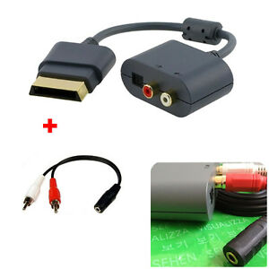 Details about Optical Audio Adapter For XBOX 360 HDMI AV Cable + 3 5mm  Stereo Female to Dual 2