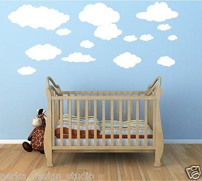 Nubes ADHESIVOS DE PARED / 15 pegatinas / Niña Niño Cuarto Del Bebé Dormitorio