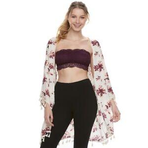 e470540703e25c Juniors  Mudd Floral Lace Bandeau Top Bra JM82K020RS Potent Purple ...