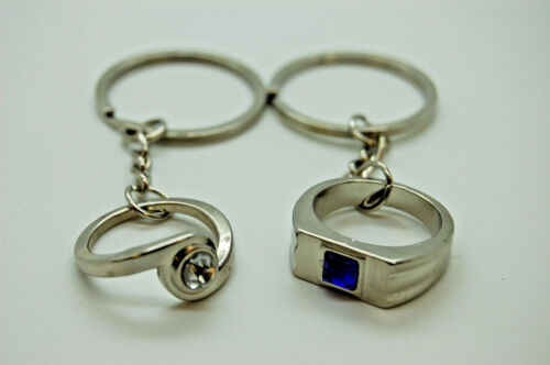 2 piece ring keyring couple wedding rings