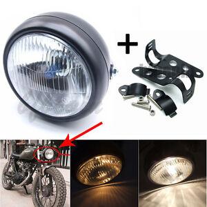 Moto-Lampe-phare-Beam-Hi-Lo-Feux-avant-Supports-Feu-Phare-Pour-Harley-Custom