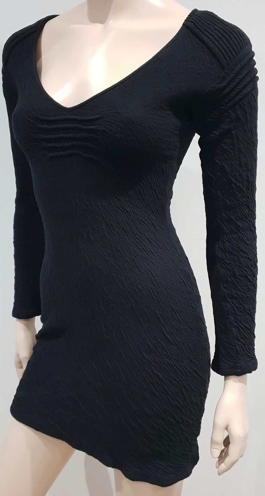 COTONE COTONE COTONE Nero ANNE FONTAINE jeseywear Stretch Bodycon Mini Abito 38 UK8 89d36a