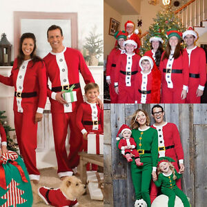 Image is loading XMAS-Family-Matching-Pajamas-Set-Santa-Adult-Kids- f65b24784