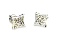 9faab9236 10K White Gold White Diamond Earrings Micro Pave Kite Screw Back Studs .10ct