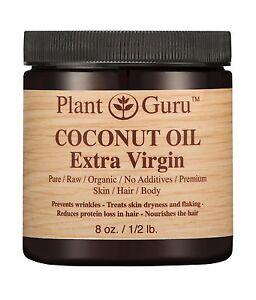 Extra Virgin Coconut Oil Organic UNREFINED 100% Pure Raw Natural 8 oz  Skin Hair