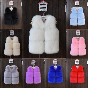 4e888884f Kids Girls Faux Fur Vest Gilet Winter Waistcoat Coat Short Jacket ...