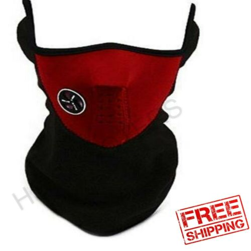 Scooter Moped Riding Half Face Mask Skull Wind Fleece Neoprene Protection Red