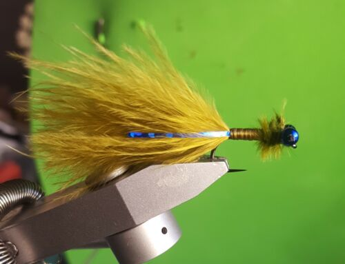 3 x Blue Flash Damsels Size 10 Fishing Flies Hanak Barbless
