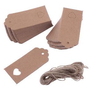 100PCS-9cmx4cm-Kraft-Paper-Gift-Tags-Wedding-Scallop-Label-Blank-Luggage-Heart
