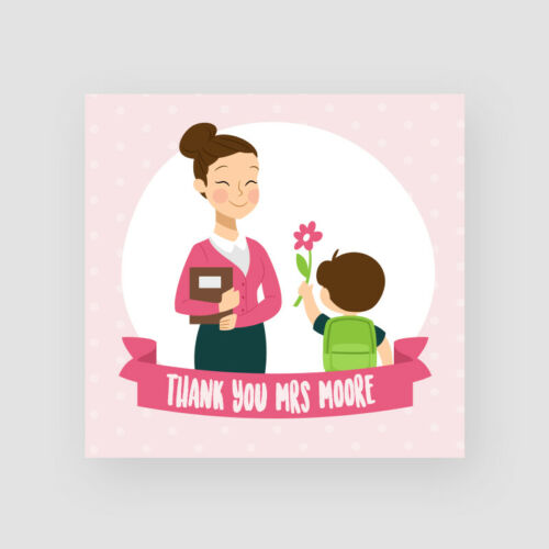 Pupil Flower Personalised Handmade Teacher Thank You Card Cute
