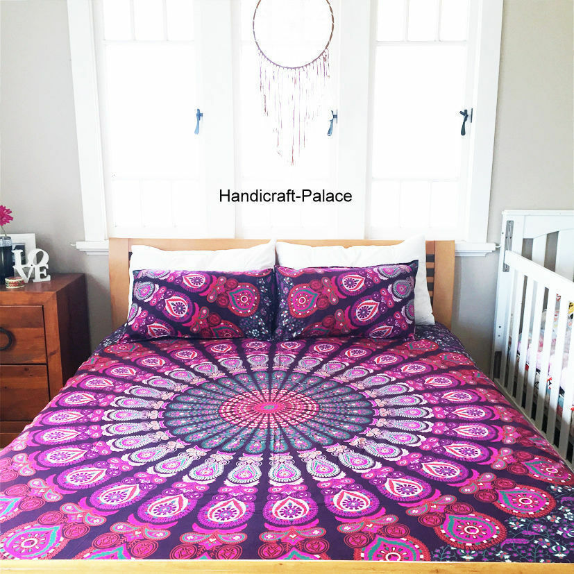 Indian Cotton Twin Size Doona Duvet Quilt case Cover Mandala Blanket With Pillow
