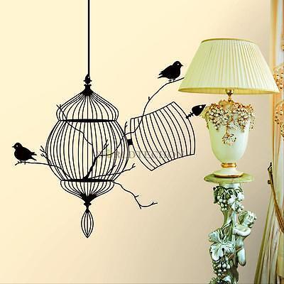 Black Birdcage Bird DIY Removable Art Wall Sticker Home Decor Decal Vinyl Mural