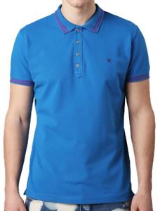Diesel T-Randy Short Sleeve Polo Tshirt Mens bluee Purple Stripe UK Size L
