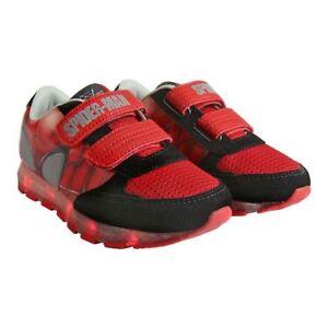 first rate d9de0 50bf6 Details zu Spiderman Schuhe LED Licht Jungen Kinder Sneakers Sportschuhe  Canvas Disney Neu