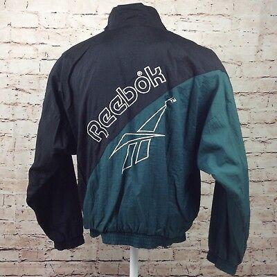 Vintage 80s Reebok Hooded Windbreaker Mens Jacket Zip Up Large Track Black Green   eBay