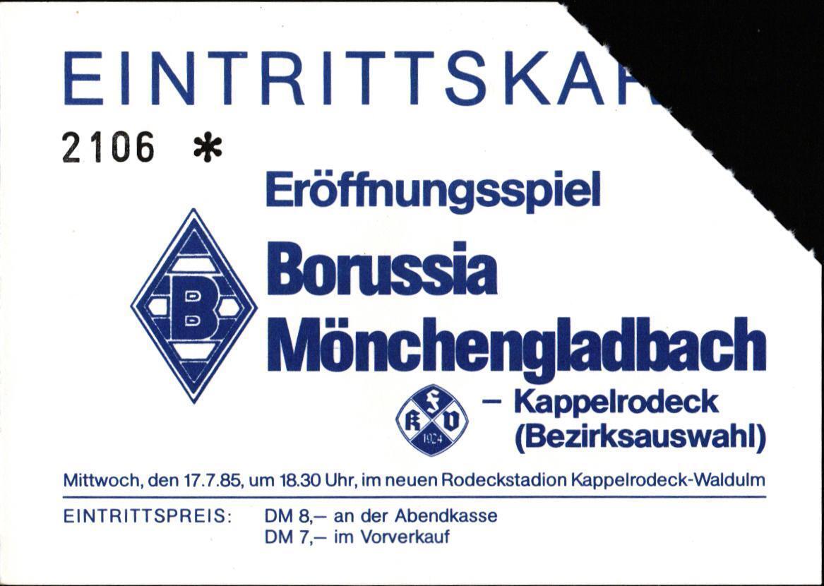 Billet Billet Billet 17.07.1985 Achertalauswahl - Borussia Mönchengladbach en Kappelrodeck 5bf035