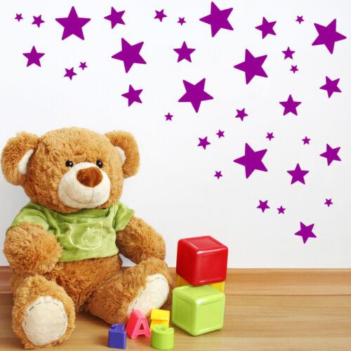 62 Mix size Stars Wall Stickers Kid Decal Art Nursery Bedroom Vinyl Decoration