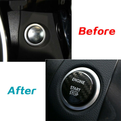 Carbon Fiber Engine Start Stop Button Cover Sticker For Mercedes Benz C Class