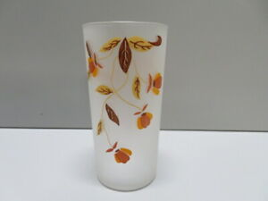 Hall-Jewel-Tea-Autumn-Leaf-Drinking-Glass-Vintage-Frosted-Glass-5-5-034-tall