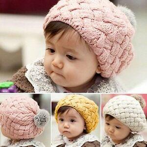221145fb5e0 Baby Girls Toddler Winter Warm Knitted Crochet Beanie Hat Beret Cap ...