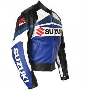 SUZUKI-GSXR-COURSES-MOTO-CUIR-VESTE-BIKER-CUIR-VESTE-VETEMENT-EN-CUIR-MOTORBIKE