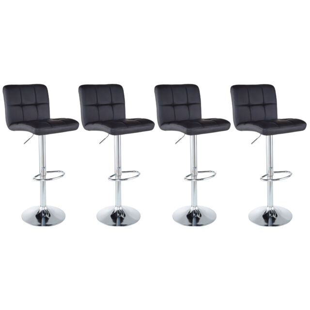 Stupendous Set Of 4 Counter Height Pu Leather Bar Stools Adjustable Swivel Pub Chairs Black Forskolin Free Trial Chair Design Images Forskolin Free Trialorg