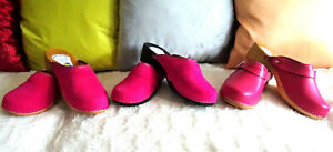 Light-Rose-PINK-Wooden-Swedish-clogs-classic-style-Suede-Velour-or-Leather-6-9-5
