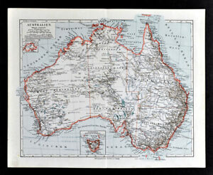 Map Of Adelaide Australia.Details About 1900 Meyers Map Australia Sydney Melbourne Perth Brisbane Adelaide Tasmanian