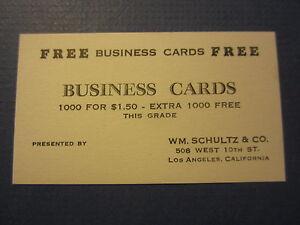 Old vintage c1930s wm schultz business cards business card los image is loading old vintage c 1930 039 s wm schultz colourmoves
