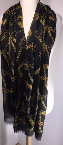Chainprint Black Gold Pashmina Scarf Softest Feel Long Oversized NEW