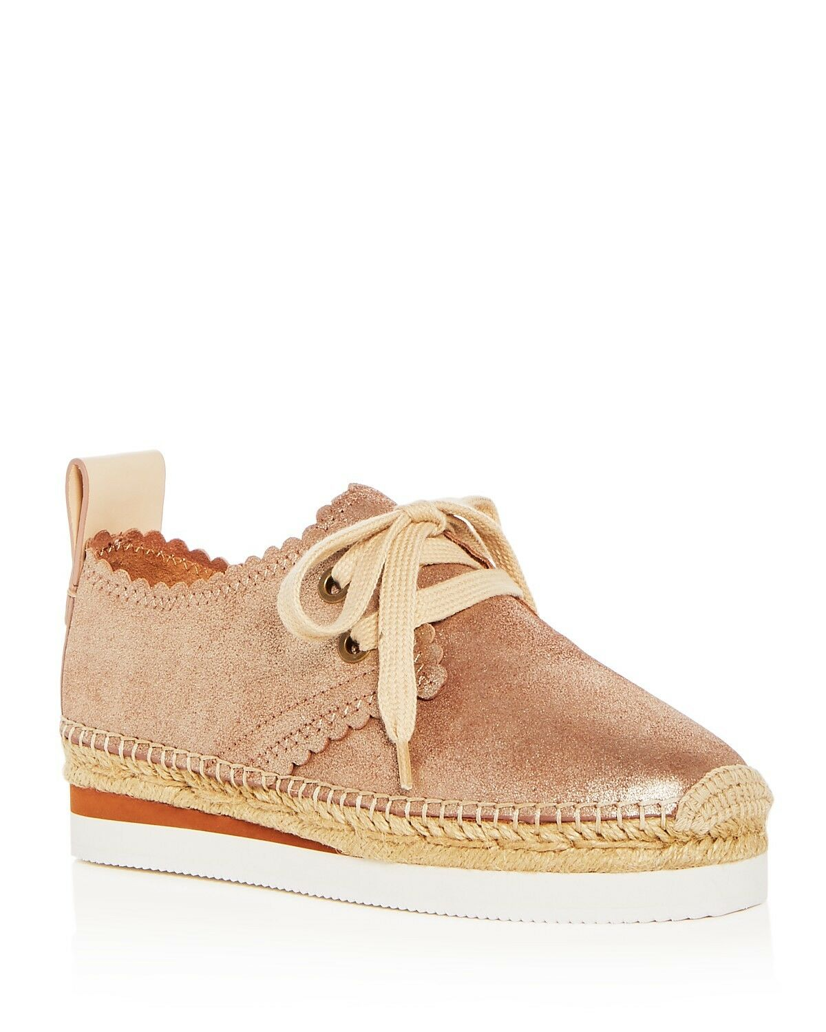 See by Chloé Women's Scalloped Leather Lace Up Up Up Platform Espadrille Flats Size 38 33aa75